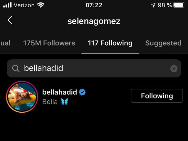 selena currently following bella on instagram