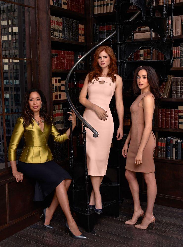 Suits female cast members - Gina Torres, Meghan Markle, Sarah Rafferty