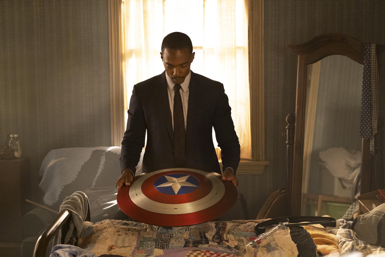 Sam Wilson with Captain America's shield
