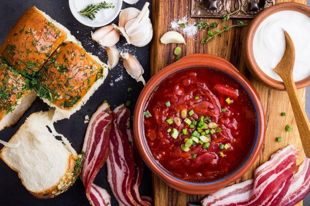 Traditional Ukrainian cuisine, beet soup borscht