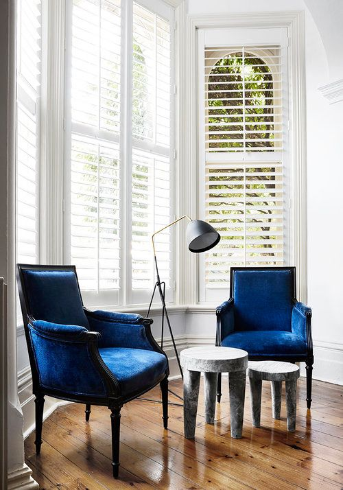 blue, furniture, room, chair, interior design, window covering, living room, product, yellow, table,