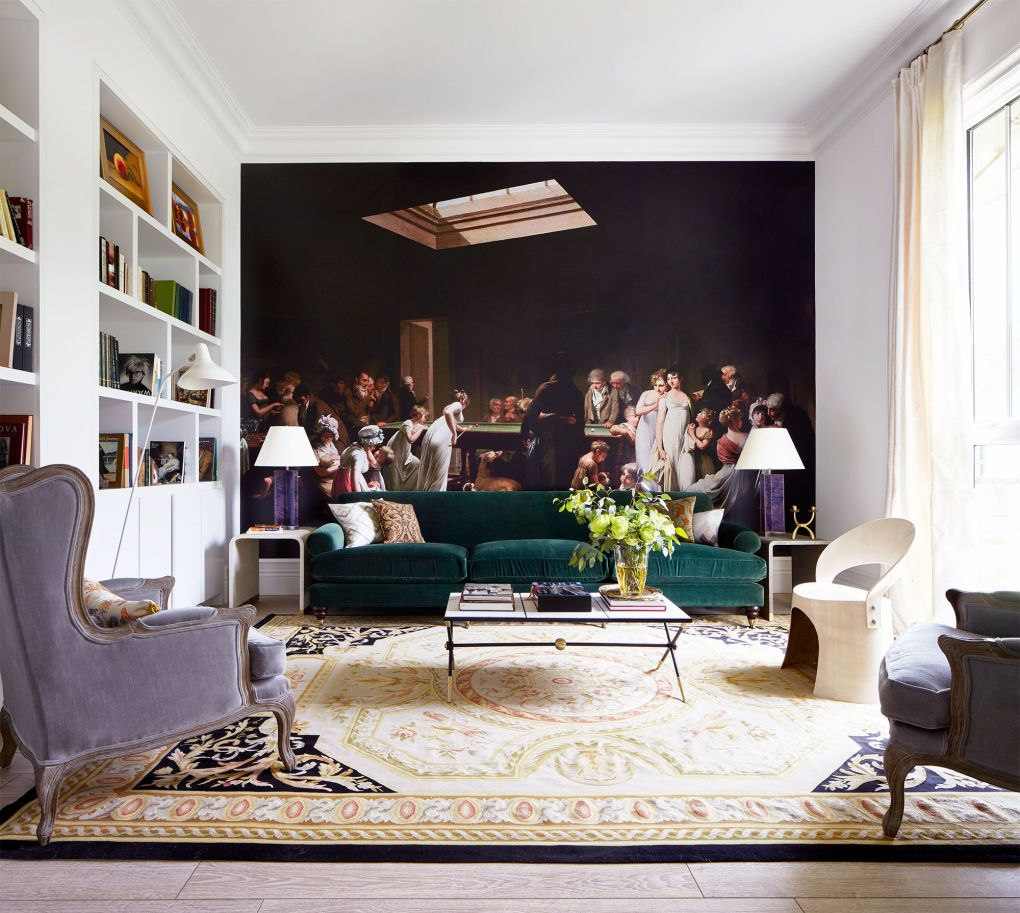 contemporary living room with large mural