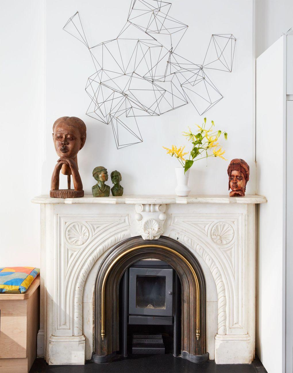 classic mantel with modern art