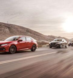 2017 honda civic hatchback vs chevy cruze mazda 3 vw golf comparison test car and driver [ 2250 x 1375 Pixel ]