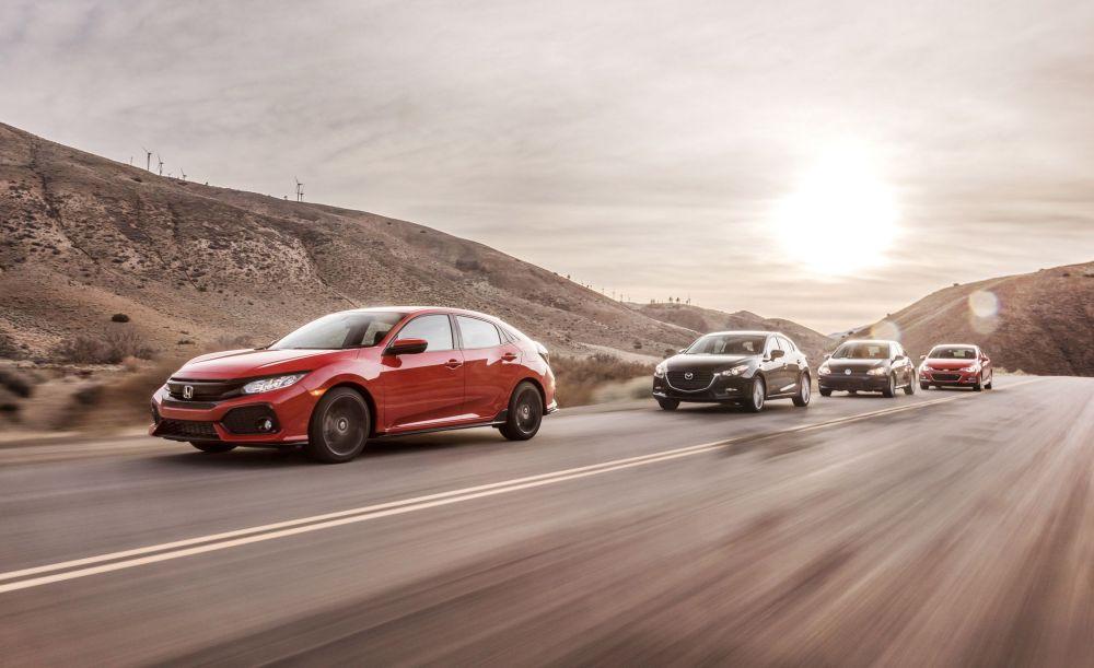 medium resolution of 2017 honda civic hatchback vs chevy cruze mazda 3 vw golf comparison test car and driver