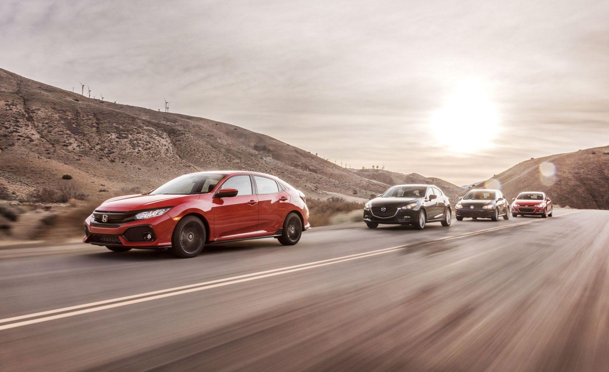 hight resolution of 2017 honda civic hatchback vs chevy cruze mazda 3 vw golf comparison test car and driver