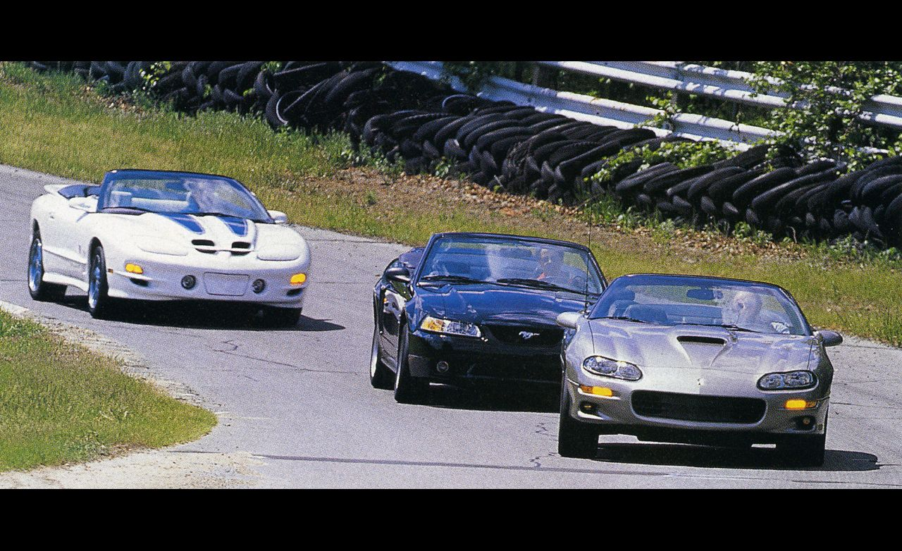 hight resolution of 1999 ford mustang cobra convertible vs chevrolet camaro ss convertible pontiac trans am convertible 8211 comparison test 8211 car and driver