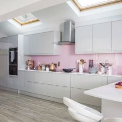 Kitchen Shelving Units Cabinets Pantry Pink, Grey And Copper Colours Gives This Makeover ...