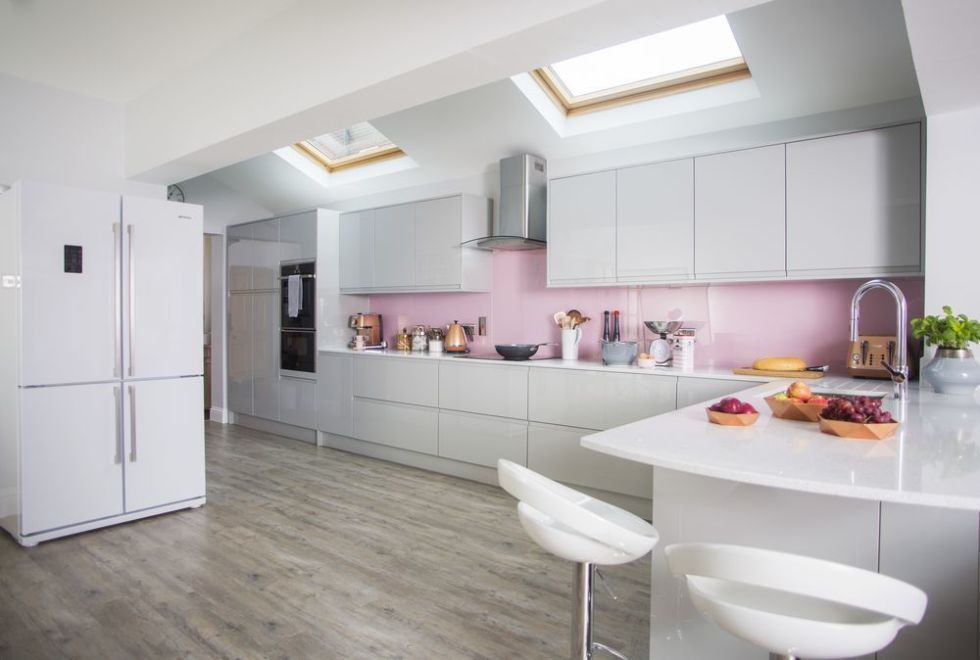 Pink Grey And Copper Colours Gives This Kitchen Makeover An Elegant Touch