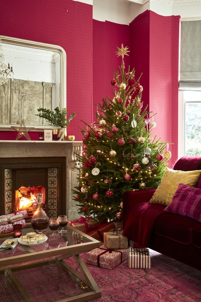 beautiful living rooms at christmas white ceiling fan room decorating scheme traditional red and gold
