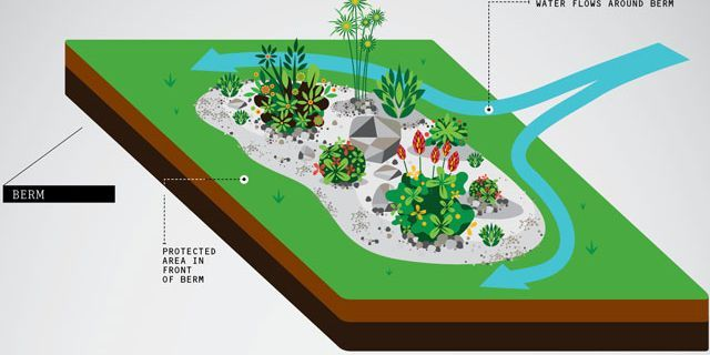 berm french drain dry swale