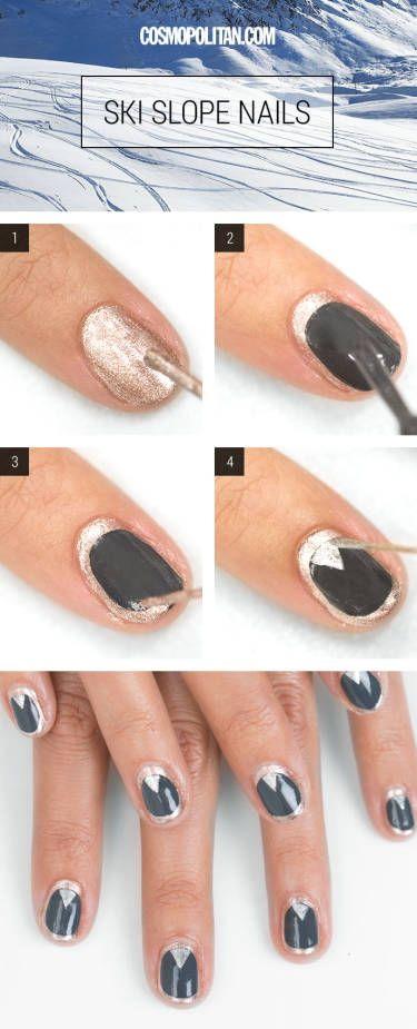 ski slope nails - metallic