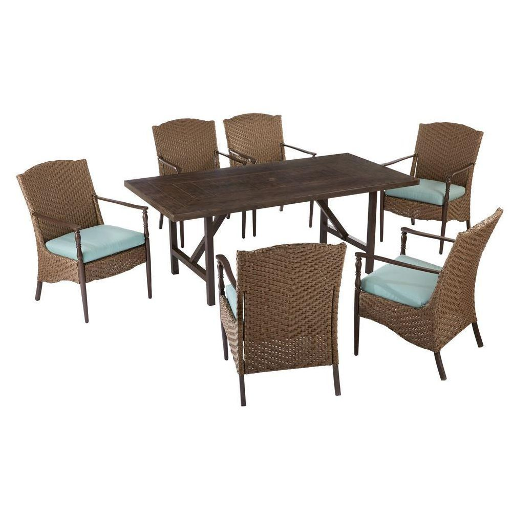 Outdoor Chair Set Home Decorators Collection Bolingbrook 7 Piece Wicker Outdoor Patio Dining Set