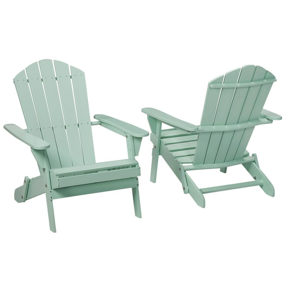 Weatherproof Adirondack Chairs Hampton Bay Mist Folding Outdoor Adirondack Chair Set Of Two
