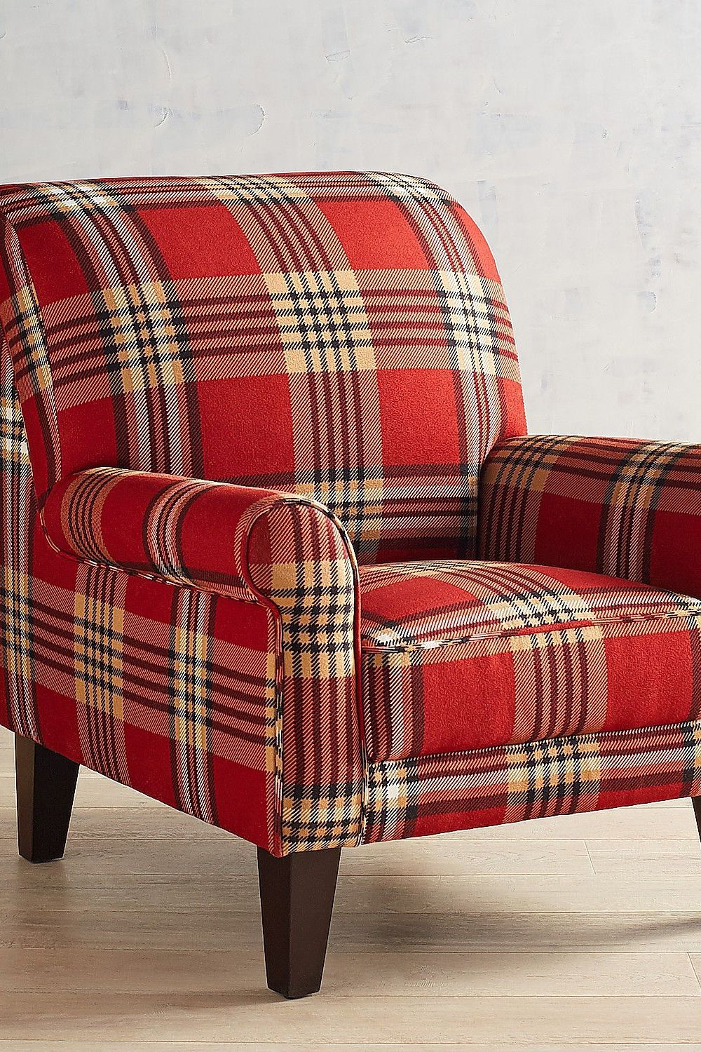 Overstuffed Chair And Ottoman Lyndee Red Plaid Armchair