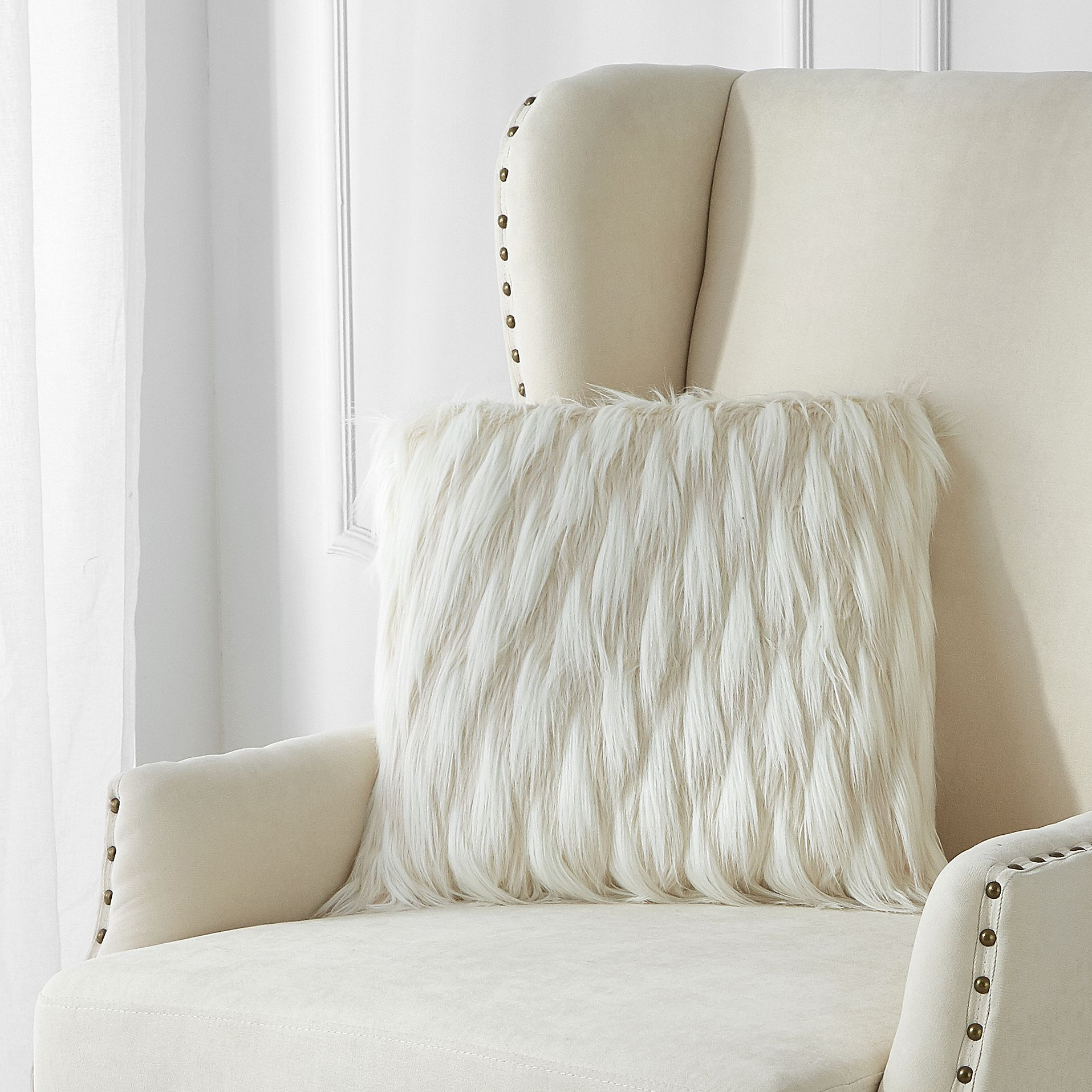two toned cream faux fur throw pillow