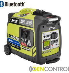 ryobi bluetooth 2 300 watt super quiet gasoline powered digital inverter generator [ 1000 x 1000 Pixel ]