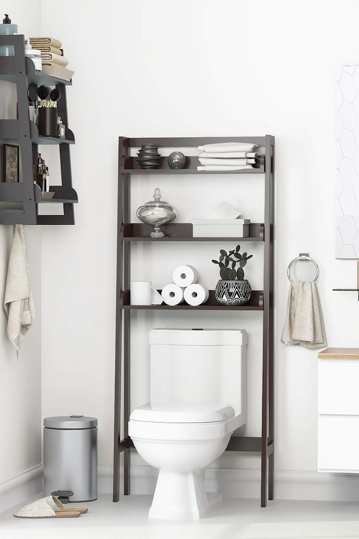 How To Organize A Bathroom Over The Toilet Shelves