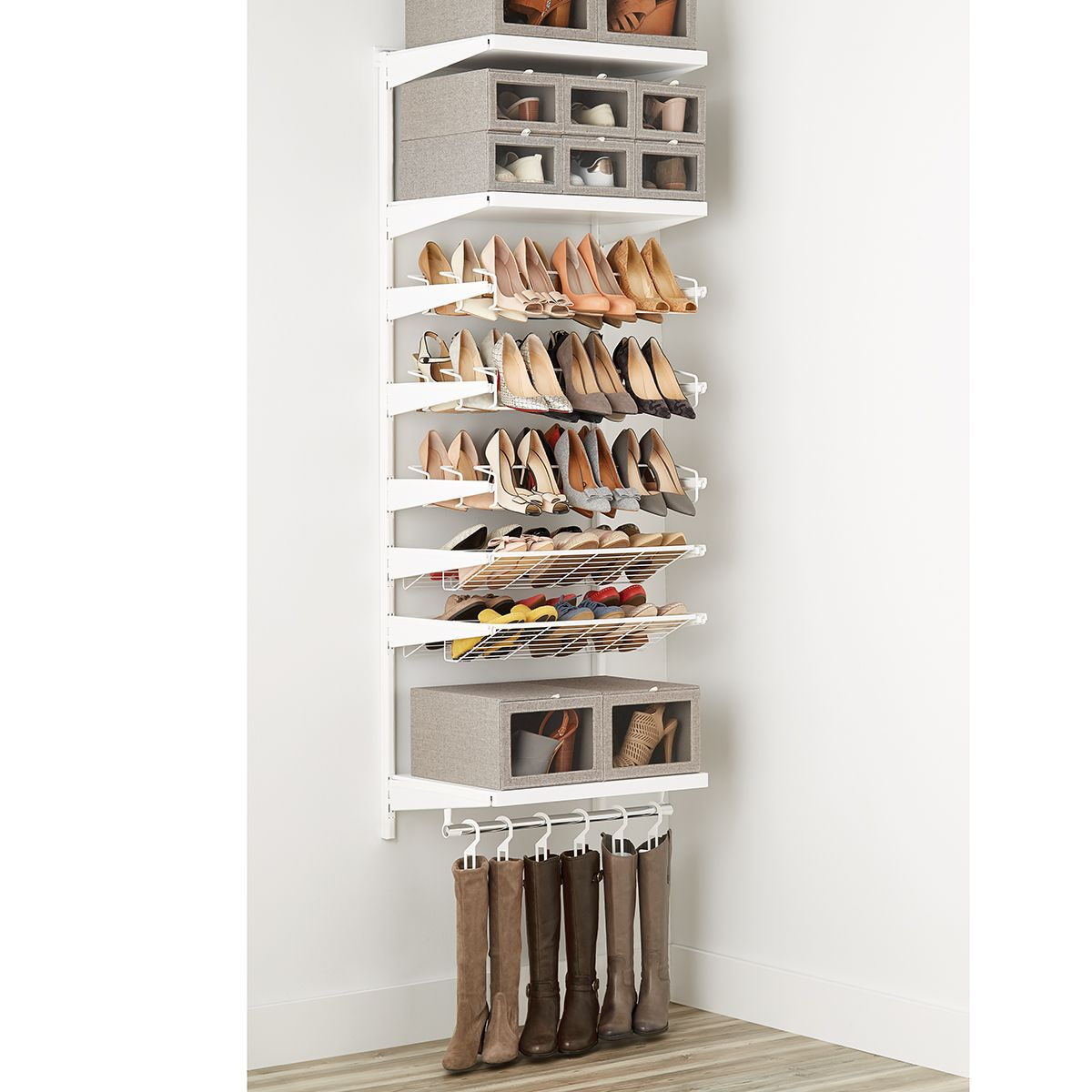 White Elfa Decor Shoe Wall