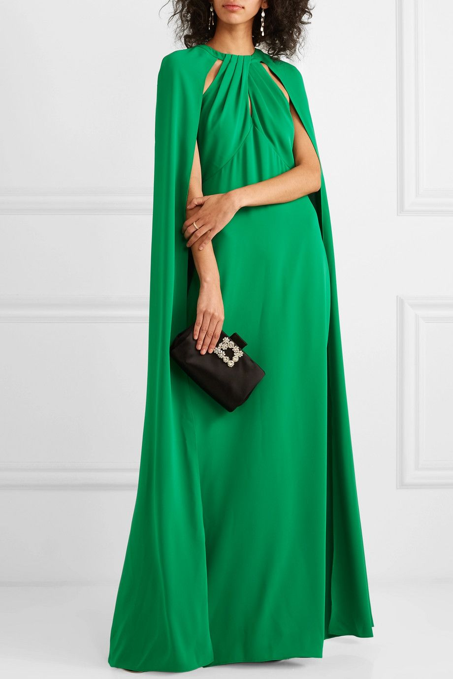 cape effect crepe gown