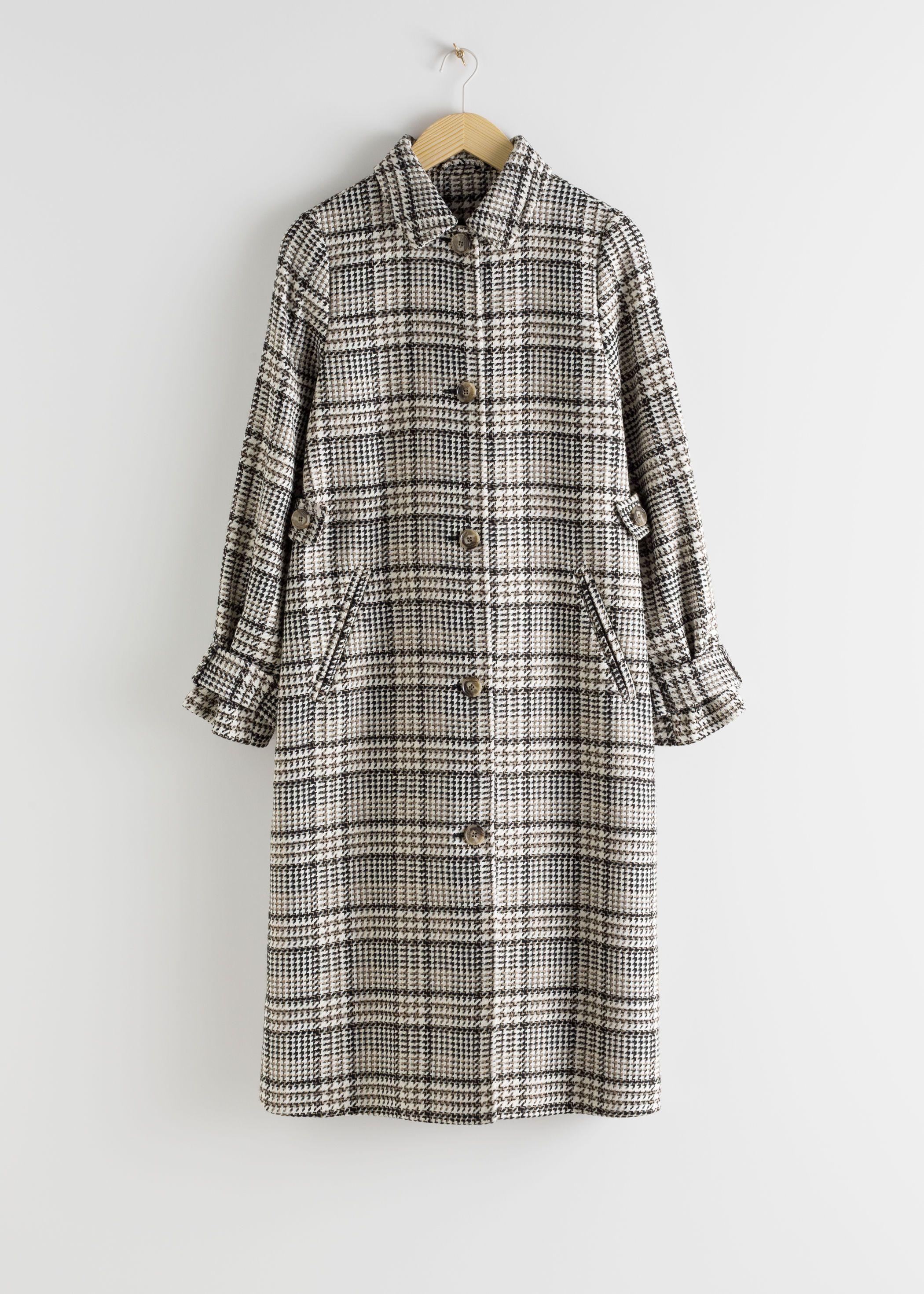 Plaid Check Tailored Coat