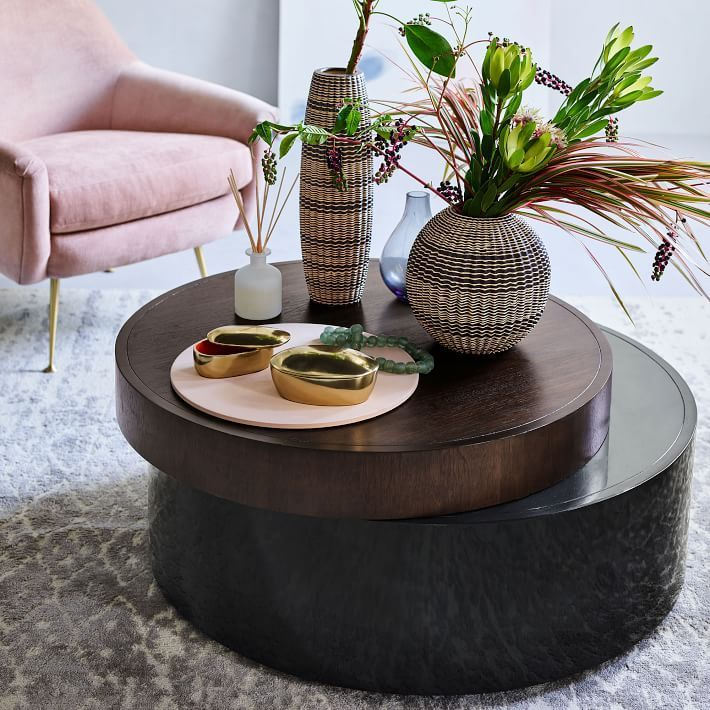 stacked disk storage coffee table