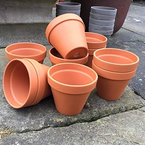 Small terracotta plant pots, pack of 10