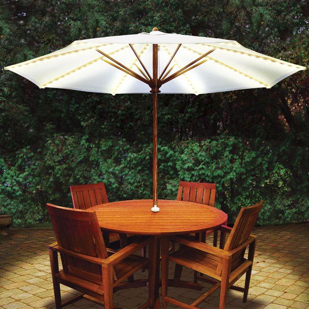 umbrella lights keep the outdoor party