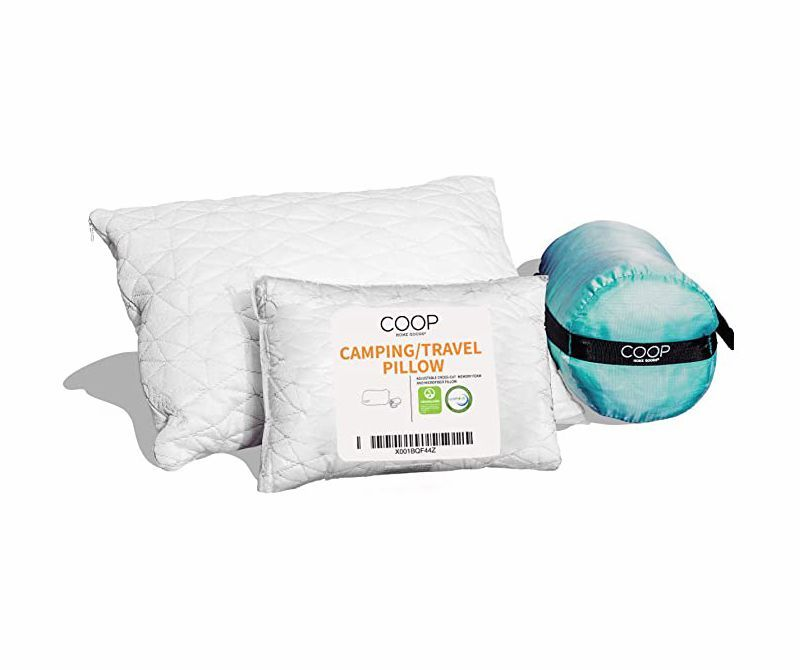 coop home goods adjustable travel and camping pillow