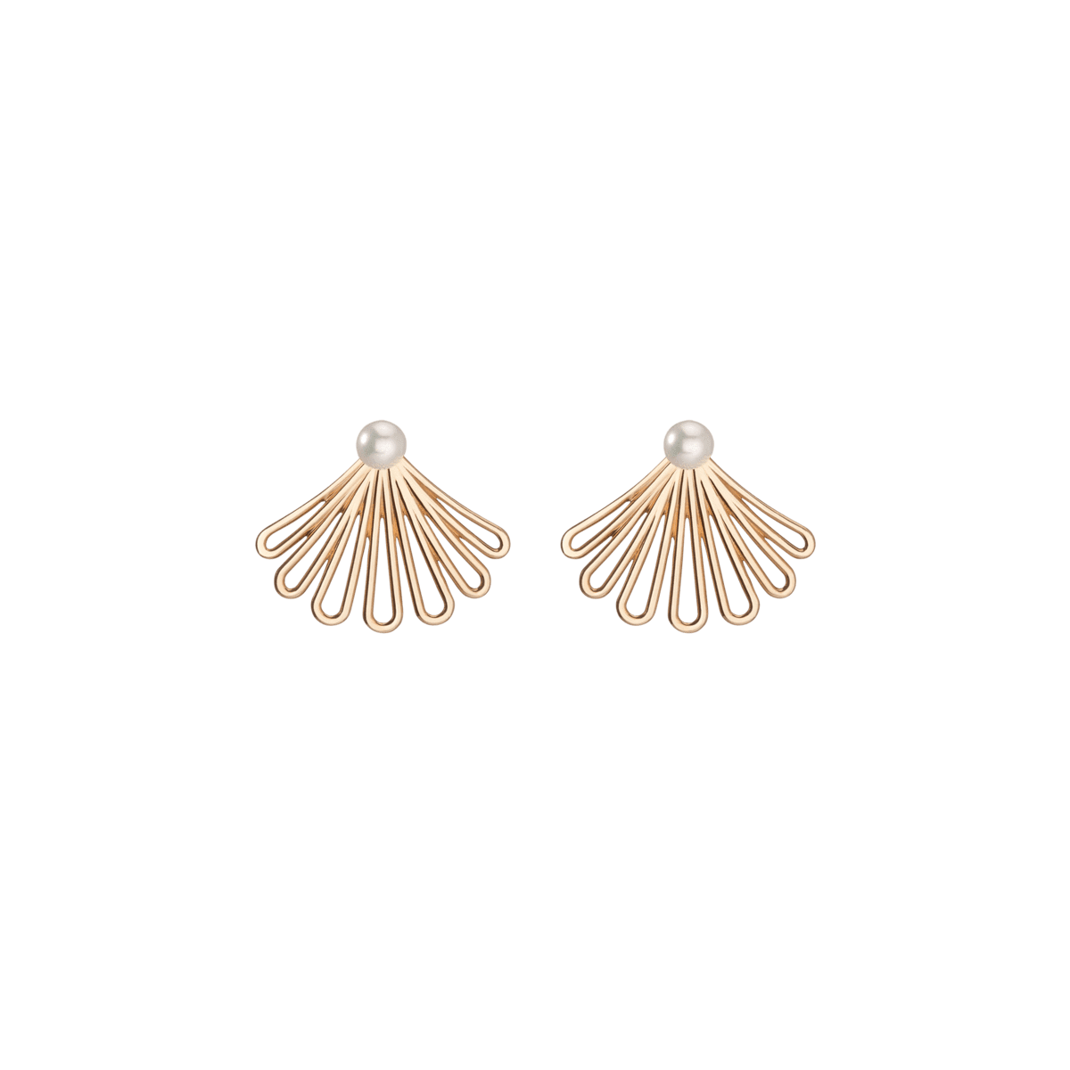 Deco Fan Pearl Earrings