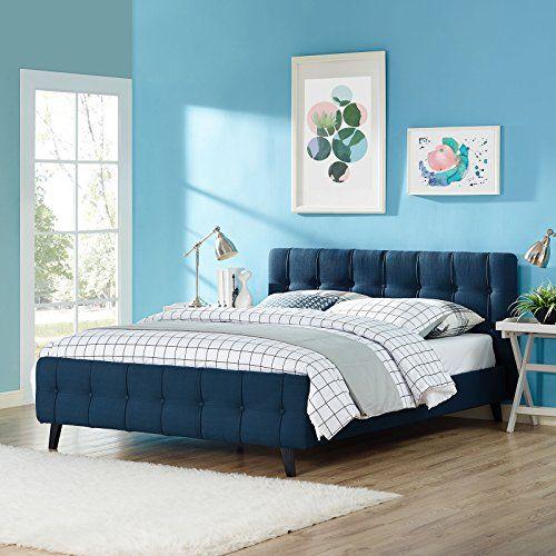 Ophelia Upholstered Azure Queen Platform Bed