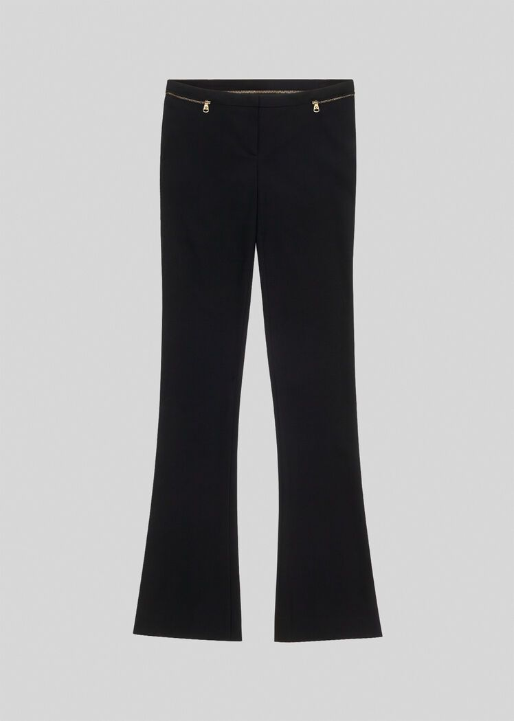 Zip Accent Wool Flared Trousers