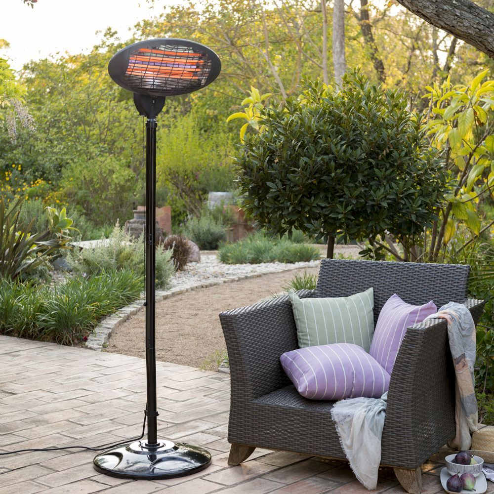 freestanding electric quartz bulb patio heater