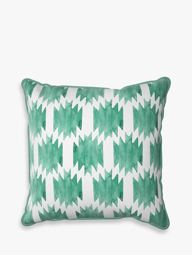 John Lewis & Partners Tile Print Garden Cushion, 43 x 43cm, Emerald/White