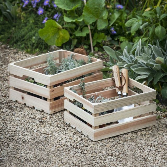 Set of 2 Wooden Storage Boxes