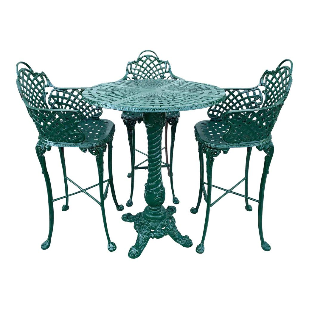 victorian style garden patio hightop table and 3 chairs