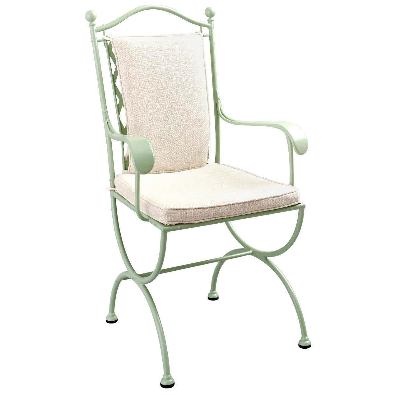 rombo outdoor green wrought iron chair with armrests