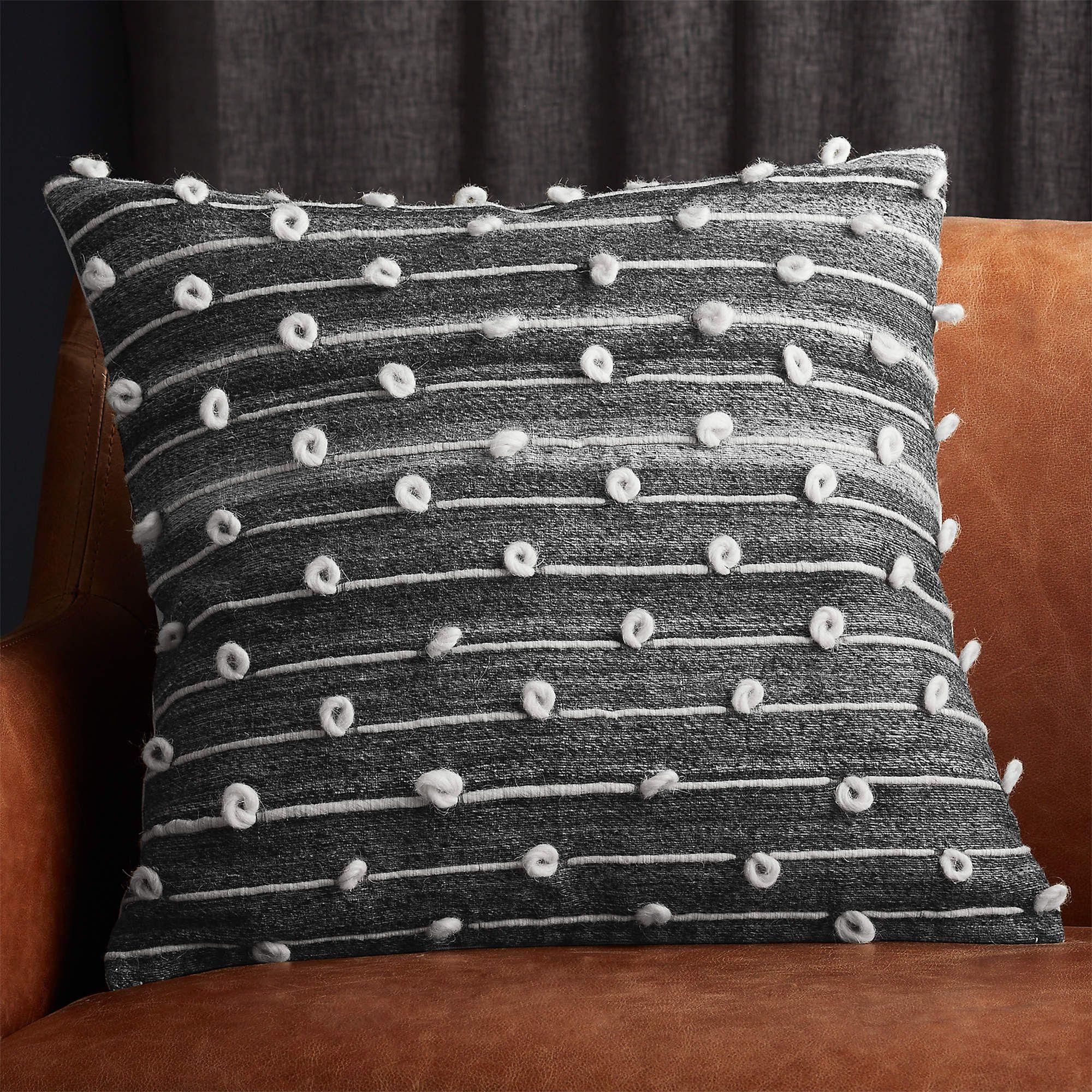 20 margaux dark grey french knot pillow