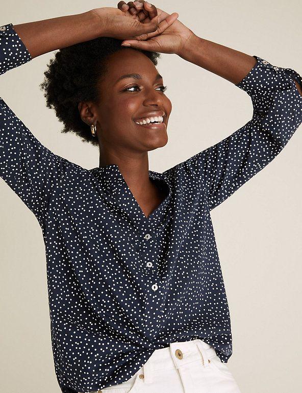 M&S Collection Polka Dot V-Neck Regular Fit Blouse