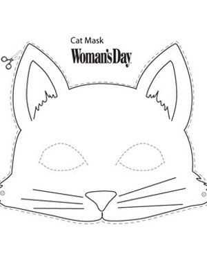 Cat Mask Template : template, Halloween, Crafts-, Printable, WomansDay.com