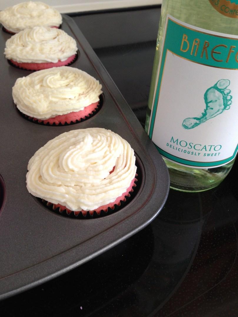 Pink Velvet Moscato Cupcakes