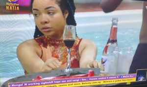 Nengi Spotted Sipping Wine And Swimming Excitedly Shortly After Ozo's Eviction