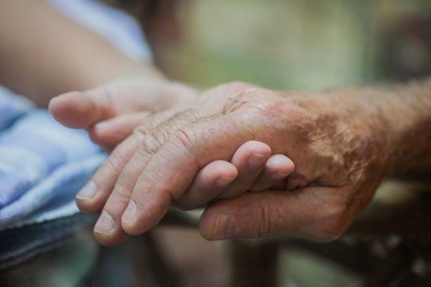 高齢者の手をとる
