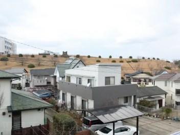 バルコニーからの眺望。背の高い建物が少ない住宅街です。