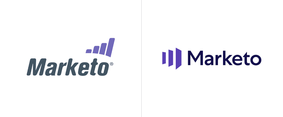 """Former Marketo logo on the left featuring a more """"quirky"""" font and a more staid update on the right."""