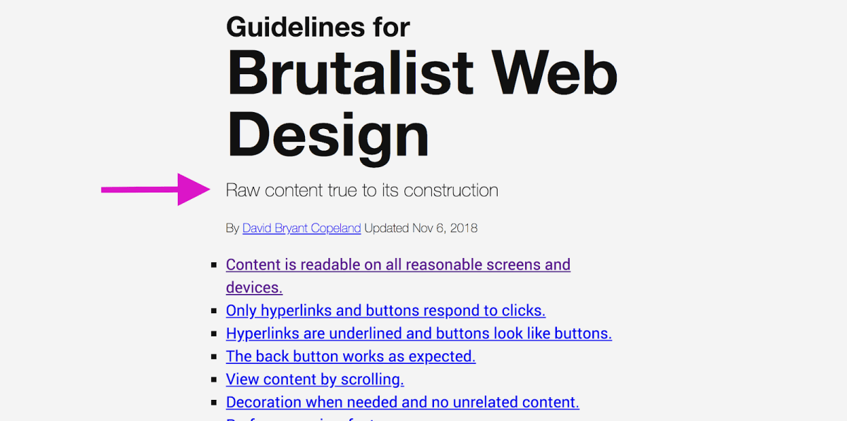 """Guidelines for Brutalist Web Design with pink arrow pointing to copy that reads, """"Raw content true to its construction"""""""