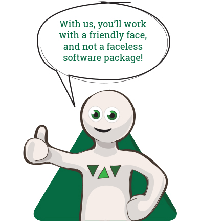 Frank says: With us, you'll work with a friendly face, and not a faceless software package!