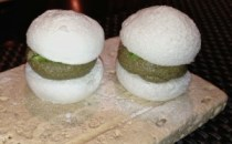 Buttermilk and Kashik: sour milk mini macaroons with eggplant and purée filling. Exraordinary!