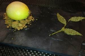"Meyer lemon mousse—another standout—with chickpea crumble and pistachio marzipan ""leaves"" - Kate Siegel"