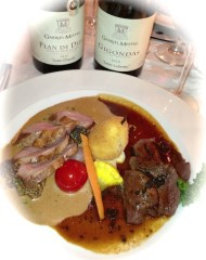 Le Crocodile duo of duck breast and caribou two ways, with two wines